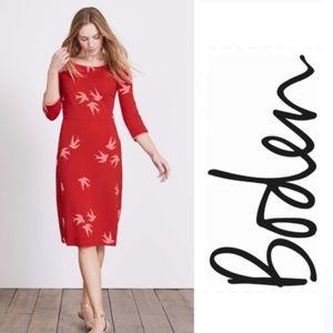 Boden | Red Pink Swallow Sparrow Bird Dress 12L